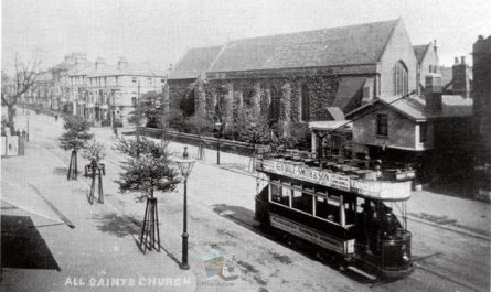 Tram Passing All Saints Church, Falsgrave